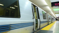 Bart Train Exits San Francisco Subway Stock Footage