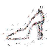group  people  shape  shoe - stock illustration