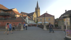 View of Liars Bridge in Small Square, Sibiu Stock Footage