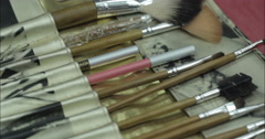 Cosmetics. Brushes. Close-up. - stock footage