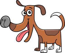 funny dog cartoon illustration - stock illustration