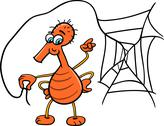 Stock Illustration of spider with web cartoon