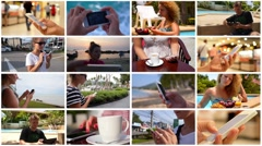 Using Smartphone - Montage - stock footage