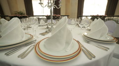 Beautiful Wedding table set up,dolly shot Stock Footage