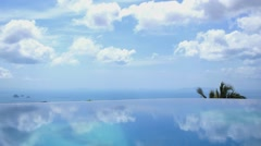 Endless Pool Water against Blue Sky in Luxury Resort. Time Lapse Stock Footage