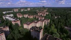The Abandoned City of Pripyat near Chernobyl (Aerial, 4K) - stock footage