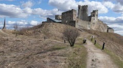 Big old castle on top of a hill Stock Footage