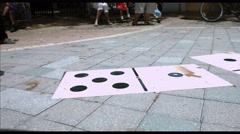 Hopscotch in Miami's Domino park Stock Footage