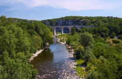 Stone, Railway viaduct over the River Ardeche - stock photo
