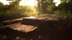 Rack focus along the sunkissed, rotting planks of a derelict picnic table Stock Footage