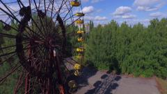 Stock Video Footage of A Ferris wheel in Pripyat, near Chernobyl (Aerial, 4K)