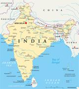 India Political Map - stock illustration