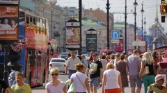 Saint-Petersburg, RUSSIA - Pedestrians moving along Nevsky Prospect Stock Footage