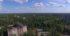 The Abandoned City of Pripyat near Chernobyl (Exclusive aerial footage, 4K) - stock footage