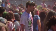Boys and Girls Painting Each Other at Holy Festival of Colors, Conducted in Stock Footage