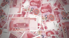 Renminbi rmb yuan Chinese money banknote international economy currency  - stock footage