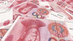 Chinese renminbi rmb yuan money banknote international economy currency - stock footage