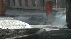 Asphalt paving, workers - stock footage