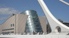 Close up of Samuel Becket Bridge and conventional Centre, Dublin, Ireland Stock Footage