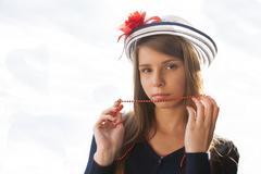 Beautiful teenage girl in hat - stock photo