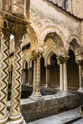 Cloister of the Monreale Abbey, Palermo - stock photo
