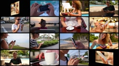 Montage Modern People Using Smartphone. Technology Concept - stock footage