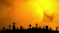 Stock Video Footage of Halloween Background with Crossbones Flying over Cemetary