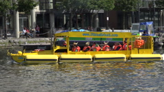 Dublin Viking Splash tours duck boat, Docklands, Ireland Stock Footage