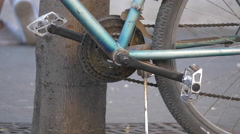 A close up view of a bicycle gear in Sibiu Stock Footage