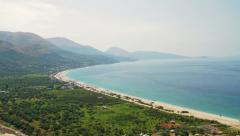 BORSH BEACH ALBANIA COAST PANNING Stock Footage
