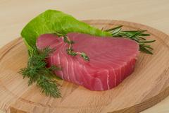 Raw tuna steak - stock photo
