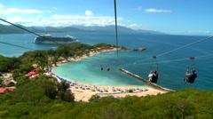 Biggest zipline over water in the world Stock Footage