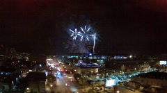 Aerial Fireworks at Night Stock Footage