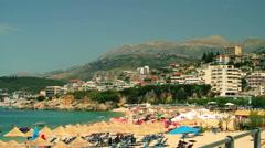 HIMARA BEACH ALBANIA PANNING Stock Footage