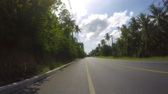 Speed Driving on Road in Tropical Jungle of Island. Time Lapse Stock Footage