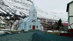 Seydisfjordur church Stock Footage