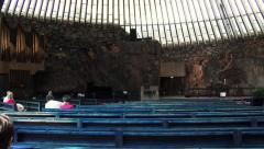 Inside the Temppeliaukio Church - Church of the Rock Stock Footage