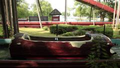 Empty log ride in a park Stock Footage