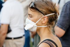 People protesting against air pollution - stock photo