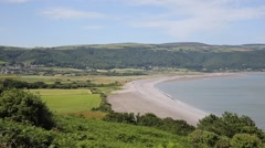 Porlock Somerset near Exmoor beach and coast PAN Stock Footage