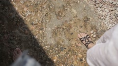Legs walk at the seaside Stock Footage