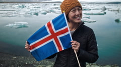 Chinese tourist in Iceland Stock Footage