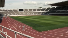 A pan across the Helsinki historical stadium of 1952 summer Olympic games Stock Footage