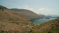 PORTO PALERMO BAY BEACH HIMARE ALBANIA WIDE ANGLE Stock Footage