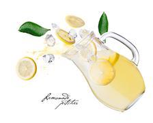 Lemonade pitcher splashes Stock Photos