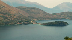 PORTO PALERMO BAY HIMARE ALBANIA COAST CASTLE STILL - stock footage