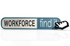 Workforce word on the blue find it banner - stock illustration