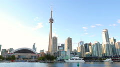 Toronto Skyline Smooth Pan Bright Sun Stock Footage