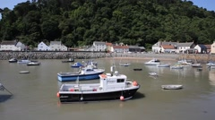 Boats Minehead harbour Somerset England in summer Stock Footage