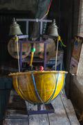 Drum machine in the indian temple - stock photo